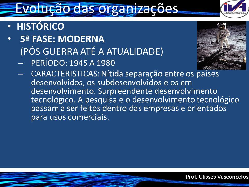 Evolução das organizações HISTÓRICO 5ª FASE: MODERNA (PÓS GUERRA ATÉ A ATUALIDADE) – PERÍODO: 1945 A 1980 – CARACTERISTICAS: Nítida separação entre os