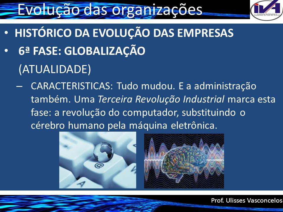 Evolução das organizações HISTÓRICO DA EVOLUÇÃO DAS EMPRESAS 6ª FASE: GLOBALIZAÇÃO (ATUALIDADE) – CARACTERISTICAS: Tudo mudou. E a administração també