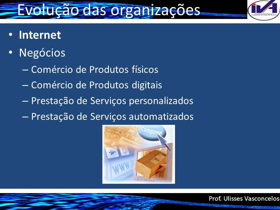 Evolução das organizações Internet Negócios – Comércio de Produtos físicos – Comércio de Produtos digitais – Prestação de Serviços personalizados – Pr