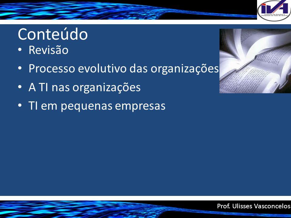 Conteúdo Revisão Processo evolutivo das organizações A TI nas organizações TI em pequenas empresas Prof. Ulisses Vasconcelos