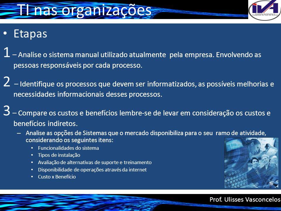 TI nas organizações Etapas 1 – Analise o sistema manual utilizado atualmente pela empresa. Envolvendo as pessoas responsáveis por cada processo. 2 – I