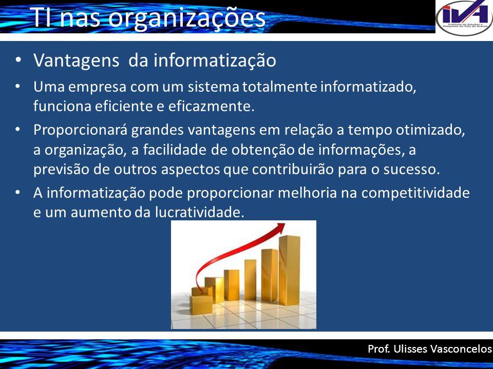 TI nas organizações Vantagens da informatização Uma empresa com um sistema totalmente informatizado, funciona eficiente e eficazmente. Proporcionará g