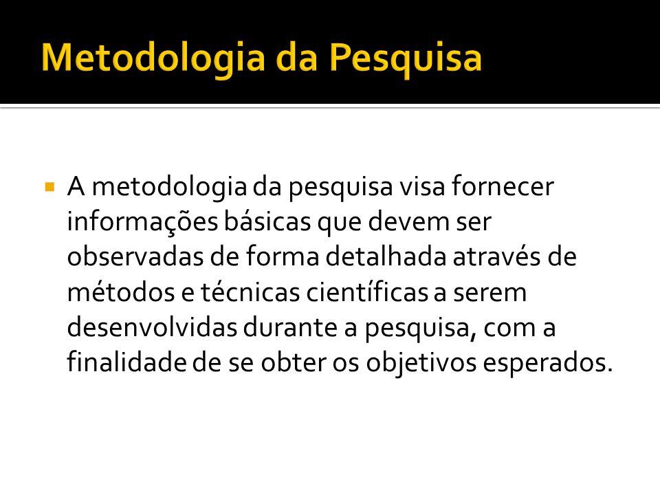 A metodologia da pesquisa visa fornecer informações básicas que devem ser observadas de forma detalhada através de métodos e técnicas científicas a se