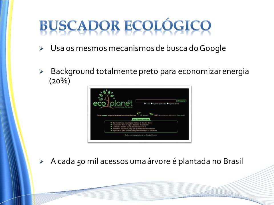 Usa os mesmos mecanismos de busca do Google Background totalmente preto para economizar energia (20%) A cada 50 mil acessos uma árvore é plantada no B