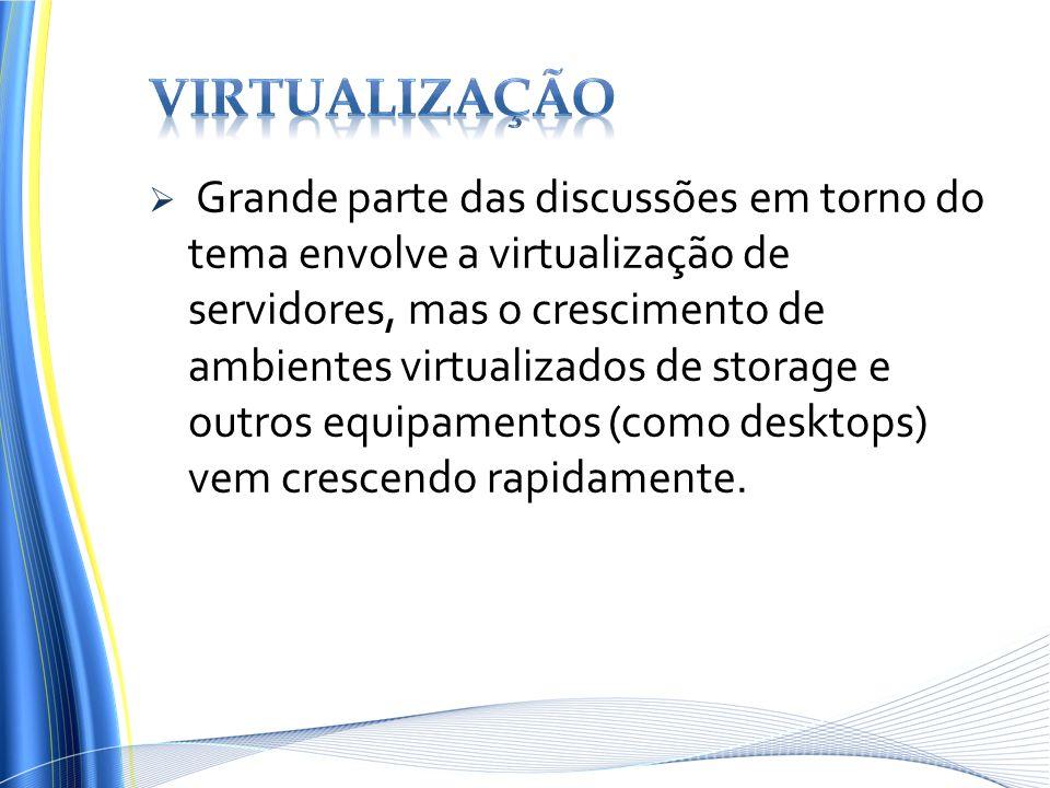 Grande parte das discussões em torno do tema envolve a virtualização de servidores, mas o crescimento de ambientes virtualizados de storage e outros e