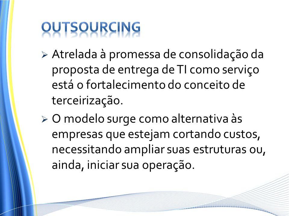 Atrelada à promessa de consolidação da proposta de entrega de TI como serviço está o fortalecimento do conceito de terceirização. O modelo surge como