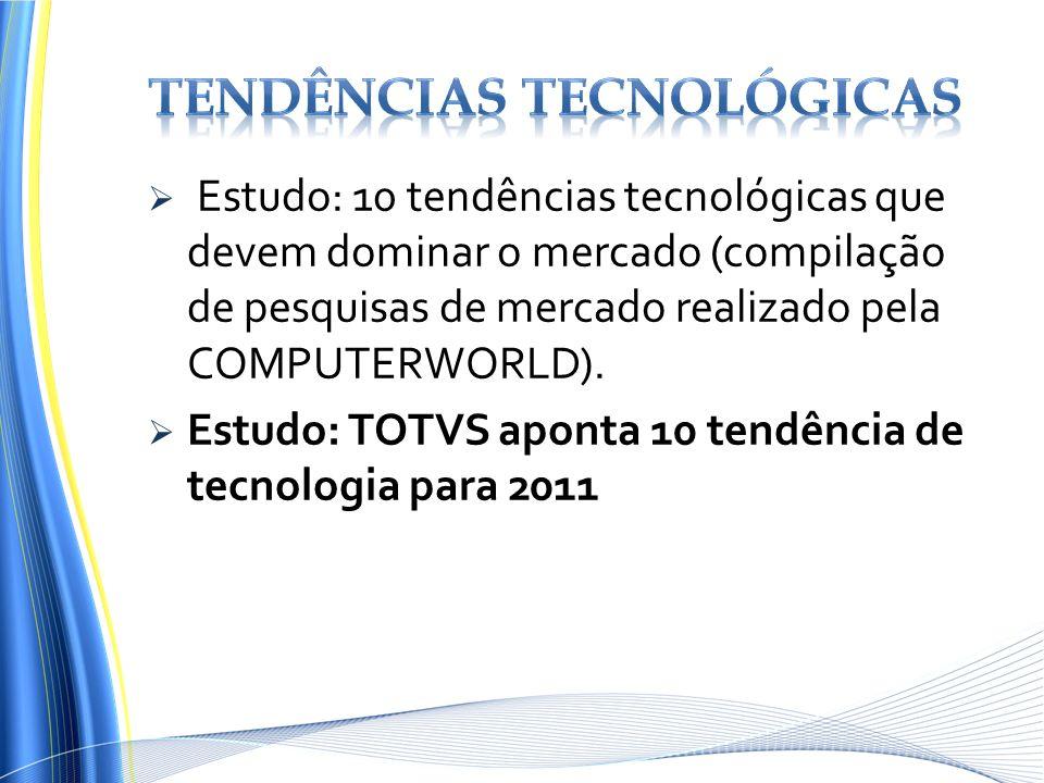 Estudo: 10 tendências tecnológicas que devem dominar o mercado (compilação de pesquisas de mercado realizado pela COMPUTERWORLD). Estudo: TOTVS aponta