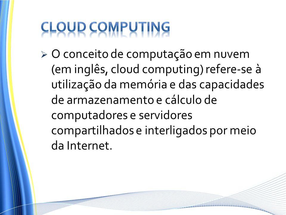 O conceito de computação em nuvem (em inglês, cloud computing) refere-se à utilização da memória e das capacidades de armazenamento e cálculo de compu