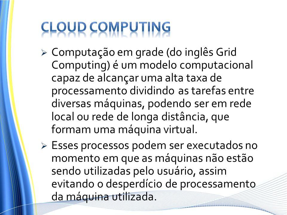 Computação em grade (do inglês Grid Computing) é um modelo computacional capaz de alcançar uma alta taxa de processamento dividindo as tarefas entre d