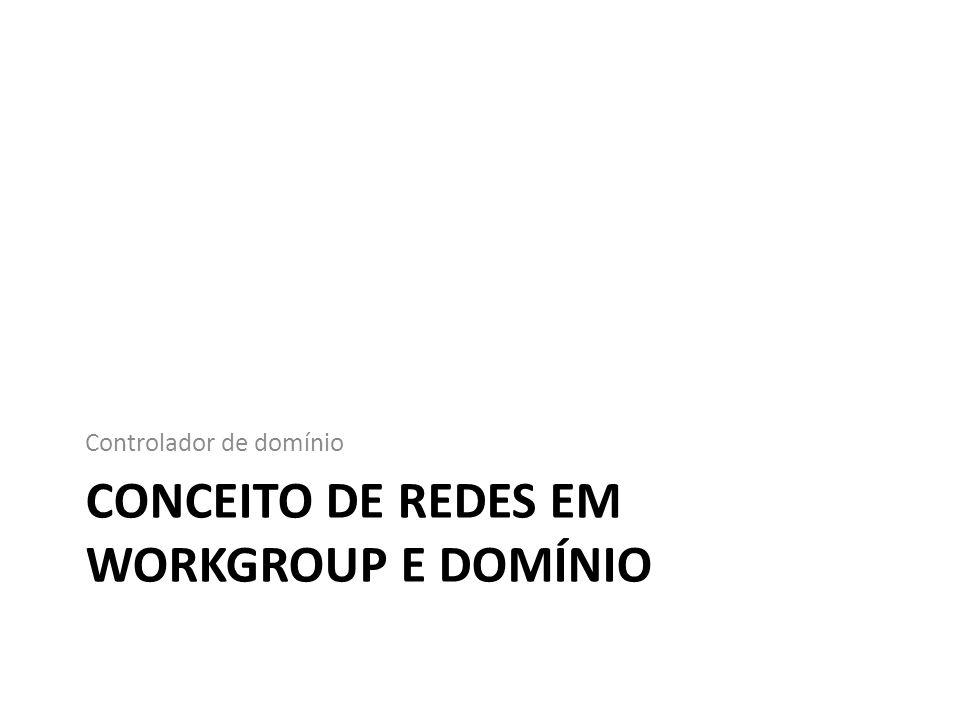 Organização em redes Podemos organizar os computadores em uma rede como: – Em Workgroup; – Em Domínio.