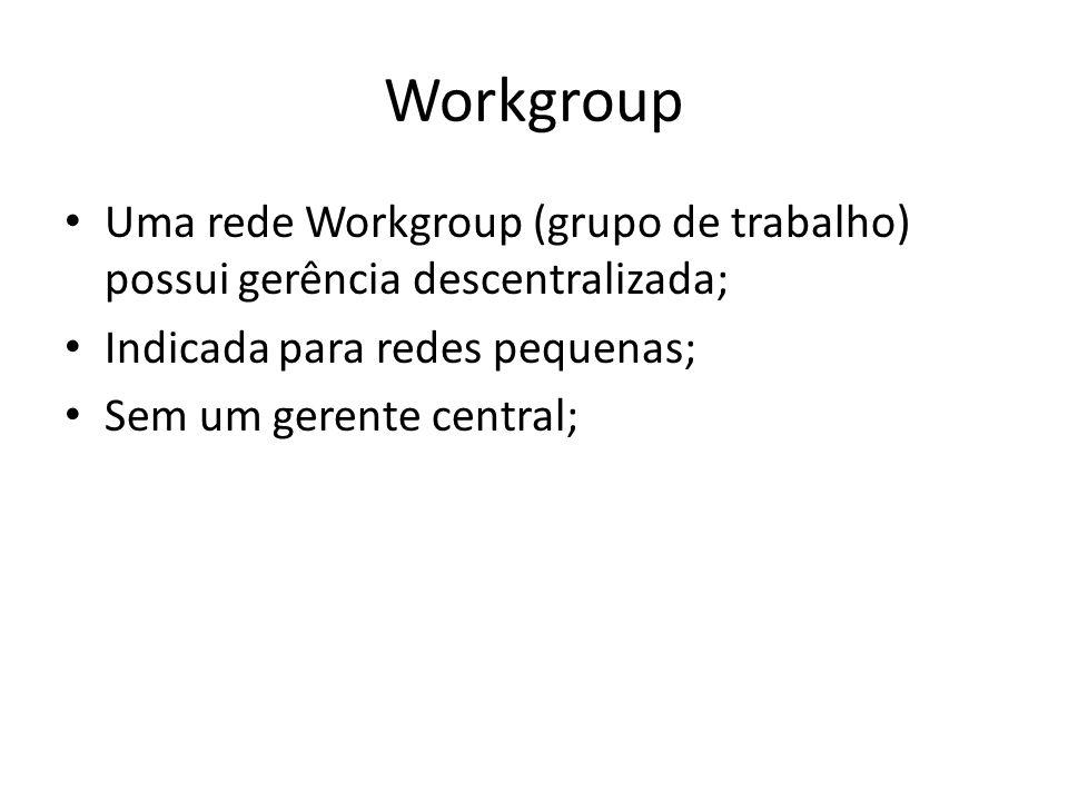 Descentralização O grande problema em uma rede Workgroup é a gerência descentralizada; – Várias contas de usuários em muitas máquinas; – Várias senhas para o usuário administrar: Cada sistema pode ter uma senha diferente.