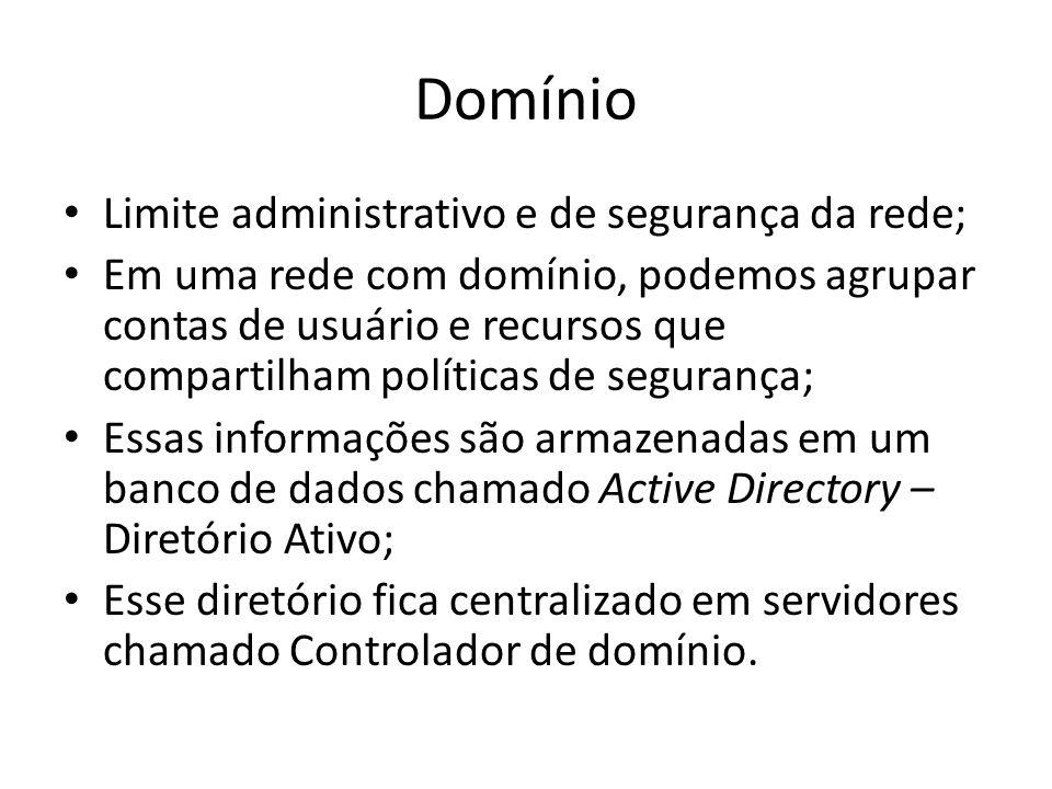 Características de um Domínio Todos os objetos da rede como contas de usuários, grupos, impressoras, etc.