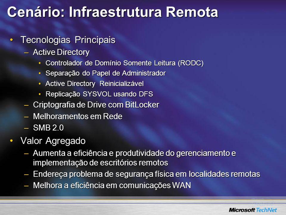 Cenário: Infraestrutura Remota Tecnologias PrincipaisTecnologias Principais –Active Directory Controlador de Domínio Somente Leitura (RODC)Controlador