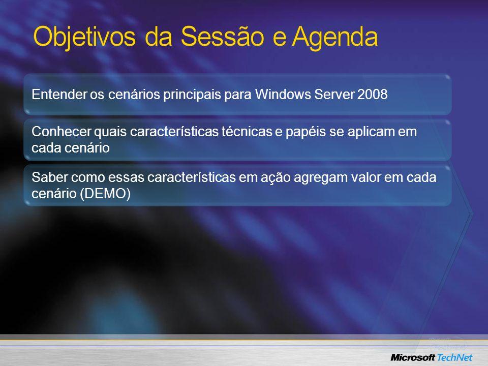 Entender os cenários principais para Windows Server 2008 Conhecer quais características técnicas e papéis se aplicam em cada cenário Saber como essas