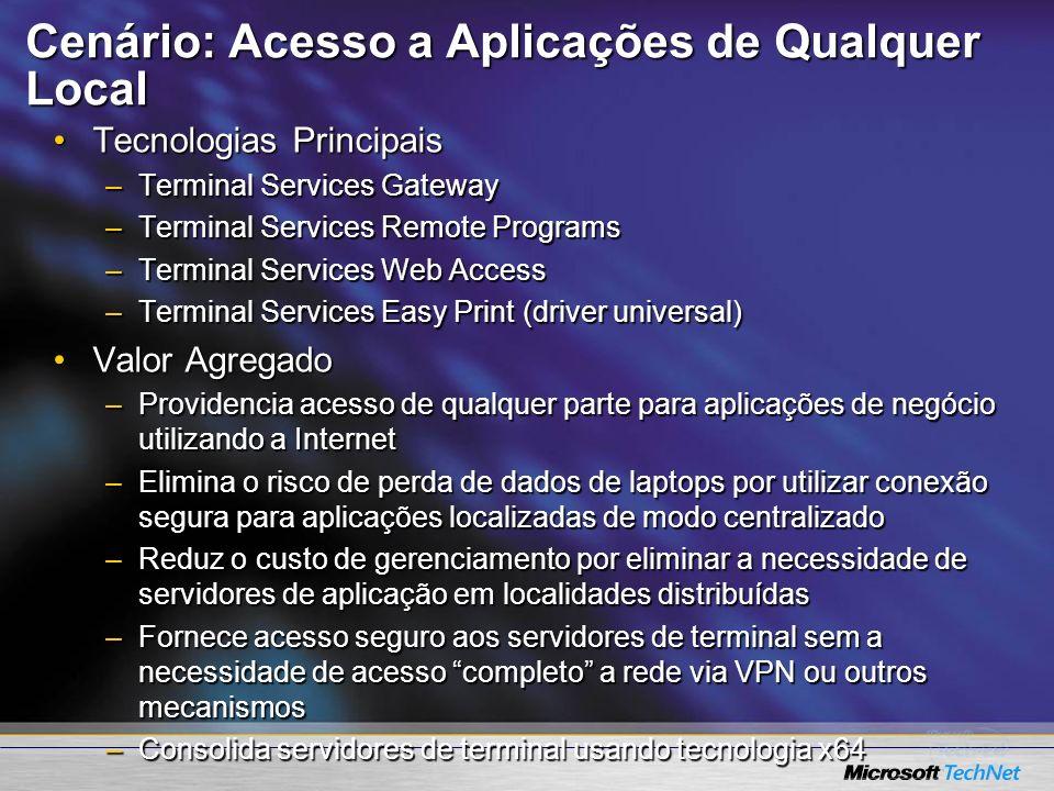 Cenário: Acesso a Aplicações de Qualquer Local Tecnologias PrincipaisTecnologias Principais –Terminal Services Gateway –Terminal Services Remote Progr