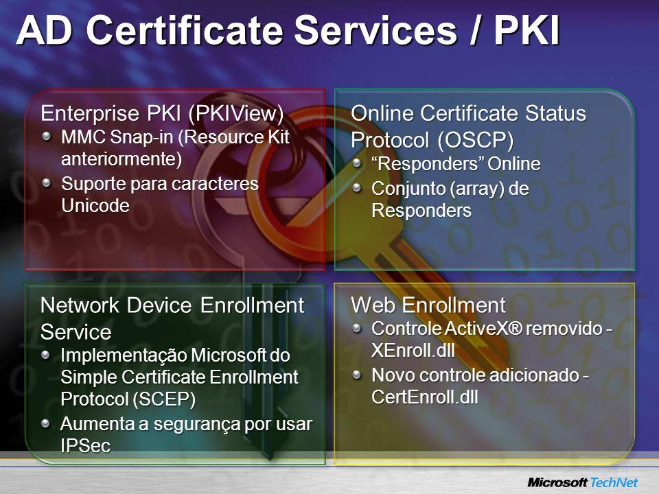 Enterprise PKI (PKIView) MMC Snap-in (Resource Kit anteriormente) Suporte para caracteres Unicode Online Certificate Status Protocol (OSCP) Responders