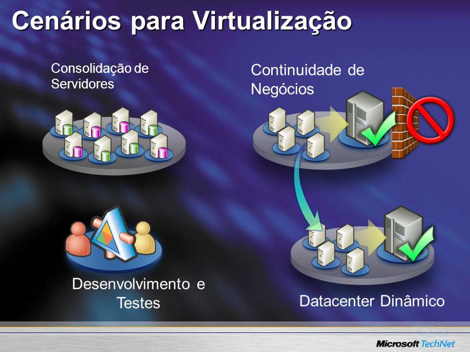 Cenários para Virtualização Desenvolvimento e Testes Continuidade de Negócios Datacenter Dinâmico Consolidação de Servidores