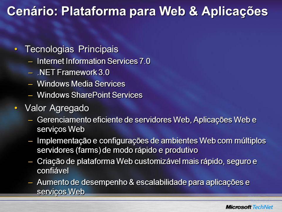 Cenário: Plataforma para Web & Aplicações Tecnologias PrincipaisTecnologias Principais –Internet Information Services 7.0 –.NET Framework 3.0 –Windows