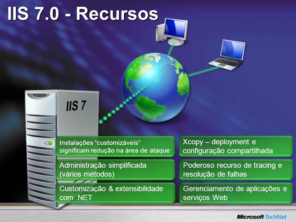 IIS 7.0 - Recursos Instalações customizáveis significam redução na área de ataque Administração simplificada (vários métodos) Customização & extensibi