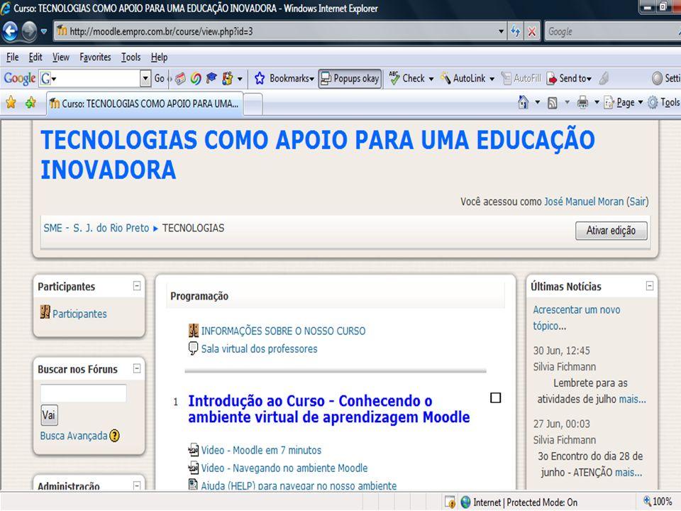 Ambientes digitais de aprendizagem Ambientes flexíveis e integrados de informação, discussão, pesquisa e publicação