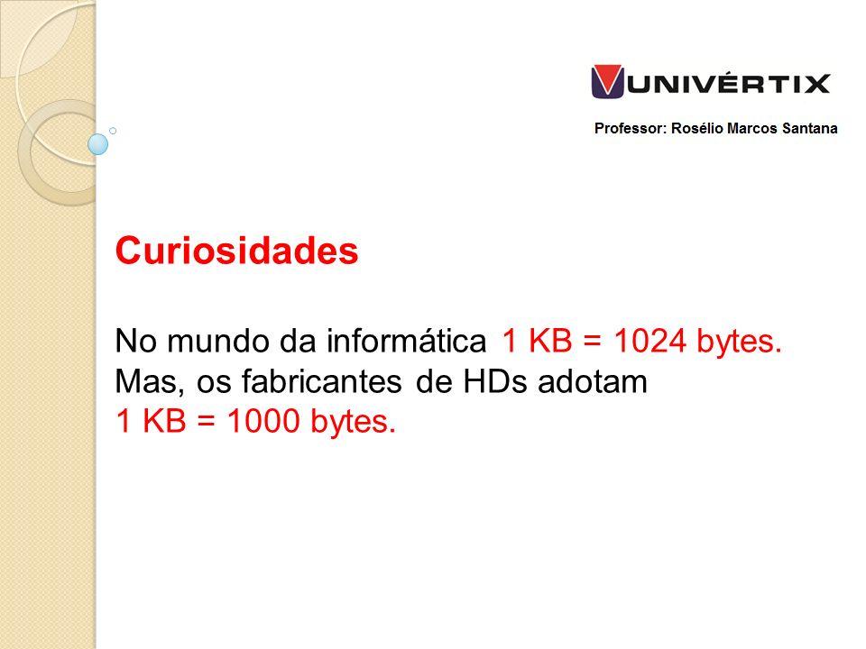 Curiosidades No mundo da informática 1 KB = 1024 bytes.