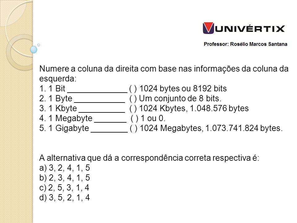 Numere a coluna da direita com base nas informações da coluna da esquerda: 1.