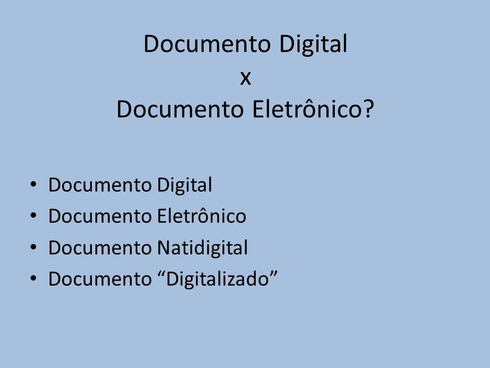 Documento Digital x Documento Eletrônico.