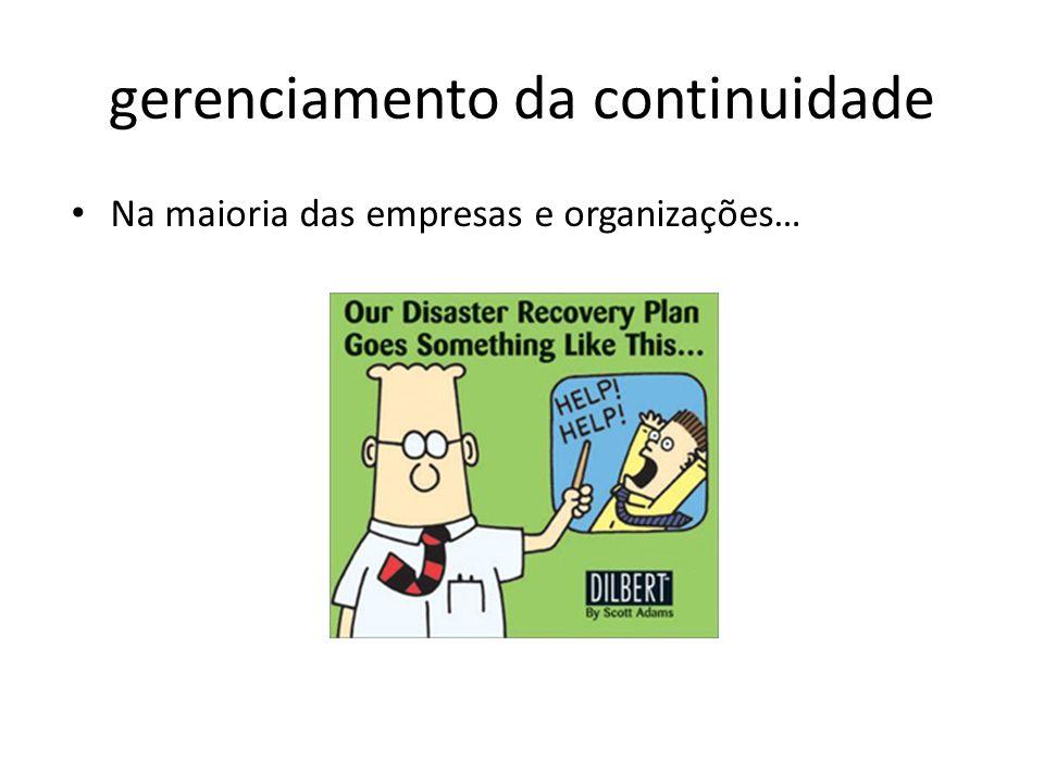 gerenciamento da continuidade Na maioria das empresas e organizações…