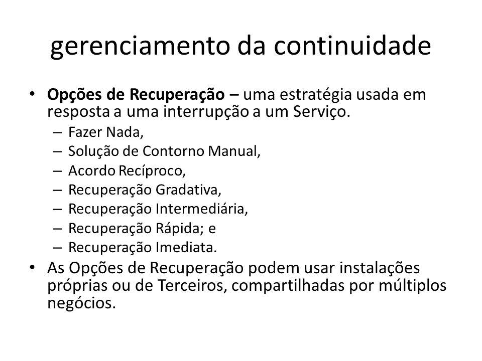 gerenciamento da continuidade Opções de Recuperação – uma estratégia usada em resposta a uma interrupção a um Serviço.