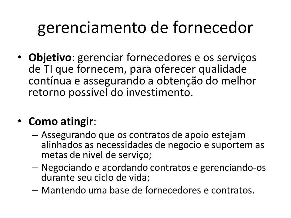 gerenciamento de fornecedor Objetivo: gerenciar fornecedores e os serviços de TI que fornecem, para oferecer qualidade contínua e assegurando a obtenção do melhor retorno possível do investimento.