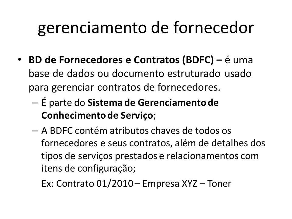 gerenciamento de fornecedor BD de Fornecedores e Contratos (BDFC) – é uma base de dados ou documento estruturado usado para gerenciar contratos de fornecedores.