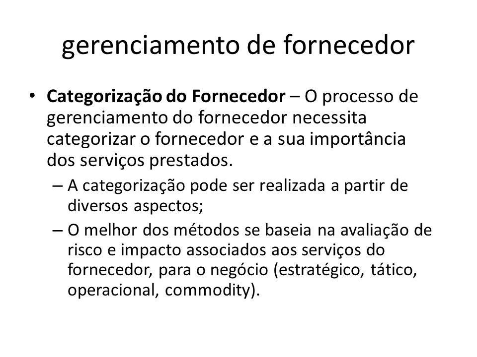 gerenciamento de fornecedor Categorização do Fornecedor – O processo de gerenciamento do fornecedor necessita categorizar o fornecedor e a sua importância dos serviços prestados.