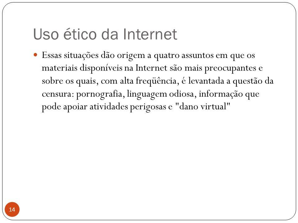 Uso ético da Internet 14 Essas situações dão origem a quatro assuntos em que os materiais disponíveis na Internet são mais preocupantes e sobre os quais, com alta freqüência, é levantada a questão da censura: pornografia, linguagem odiosa, informação que pode apoiar atividades perigosas e dano virtual
