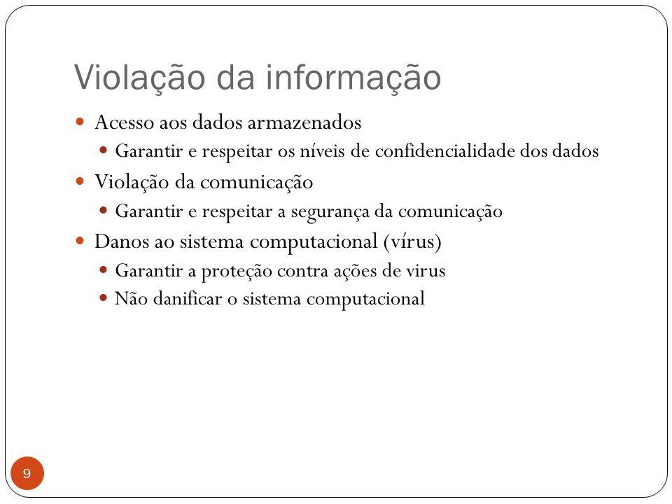 Violação da informação 9 Acesso aos dados armazenados Garantir e respeitar os níveis de confidencialidade dos dados Violação da comunicação Garantir e respeitar a segurança da comunicação Danos ao sistema computacional (vírus) Garantir a proteção contra ações de virus Não danificar o sistema computacional