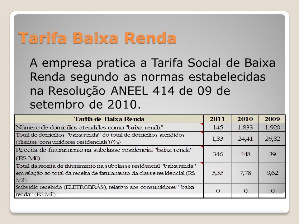 Tarifa Baixa Renda A empresa pratica a Tarifa Social de Baixa Renda segundo as normas estabelecidas na Resolução ANEEL 414 de 09 de setembro de 2010.