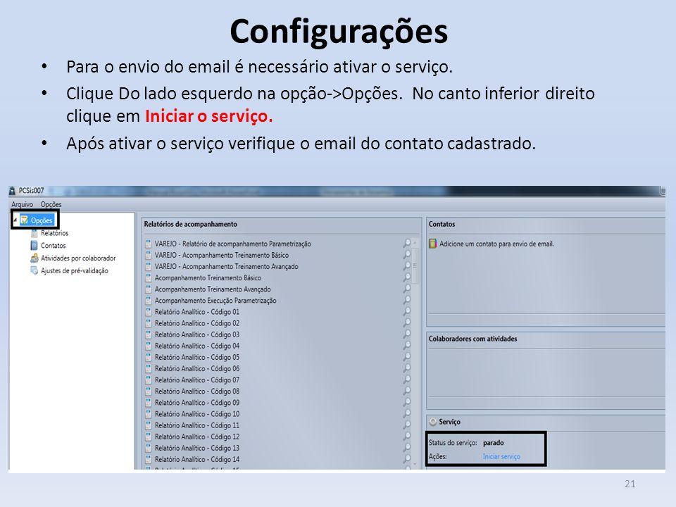 Configurações Para o envio do email é necessário ativar o serviço. Clique Do lado esquerdo na opção->Opções. No canto inferior direito clique em Inici
