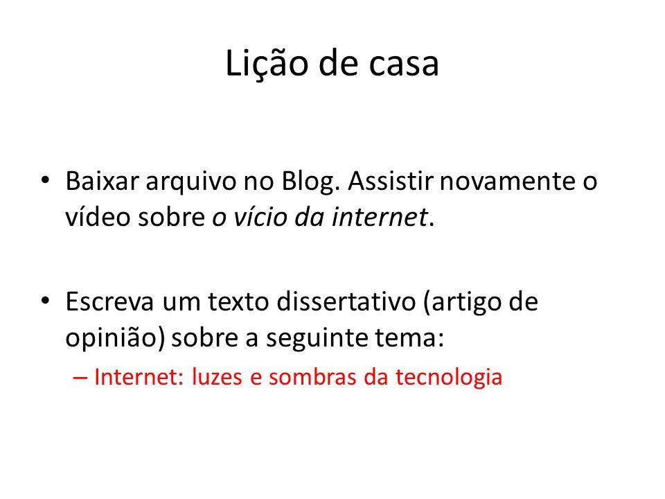 Lição de casa Baixar arquivo no Blog.Assistir novamente o vídeo sobre o vício da internet.