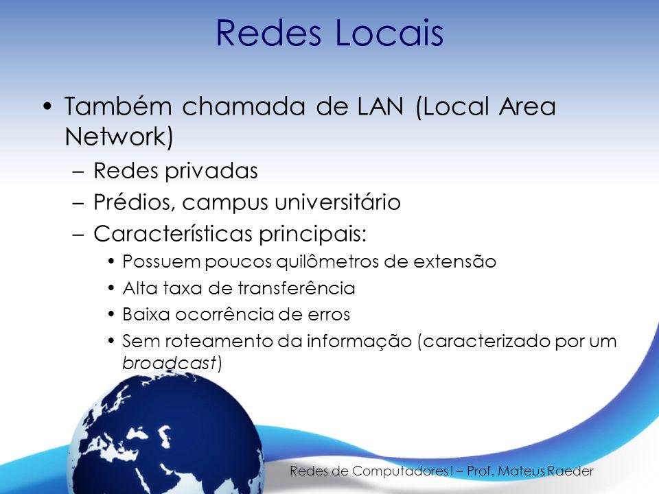 Redes de Computadores I – Prof. Mateus Raeder Redes Locais Também chamada de LAN (Local Area Network) –Redes privadas –Prédios, campus universitário –