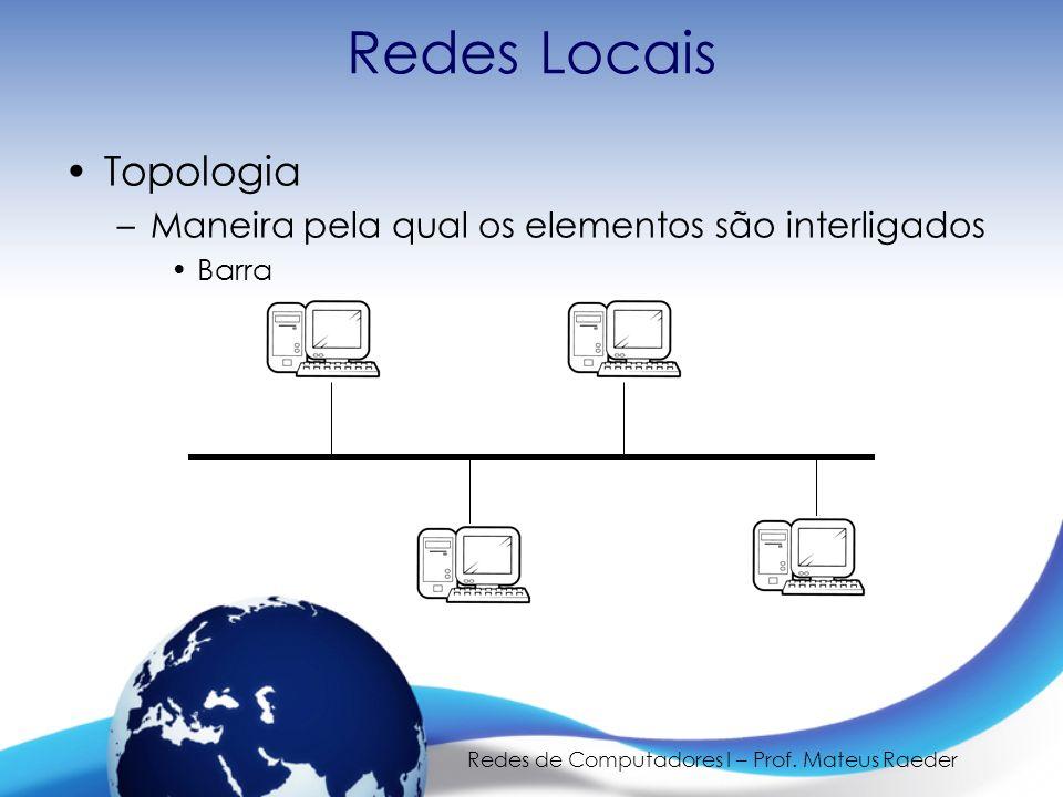 Redes de Computadores I – Prof. Mateus Raeder Redes Locais Topologia –Maneira pela qual os elementos são interligados Barra