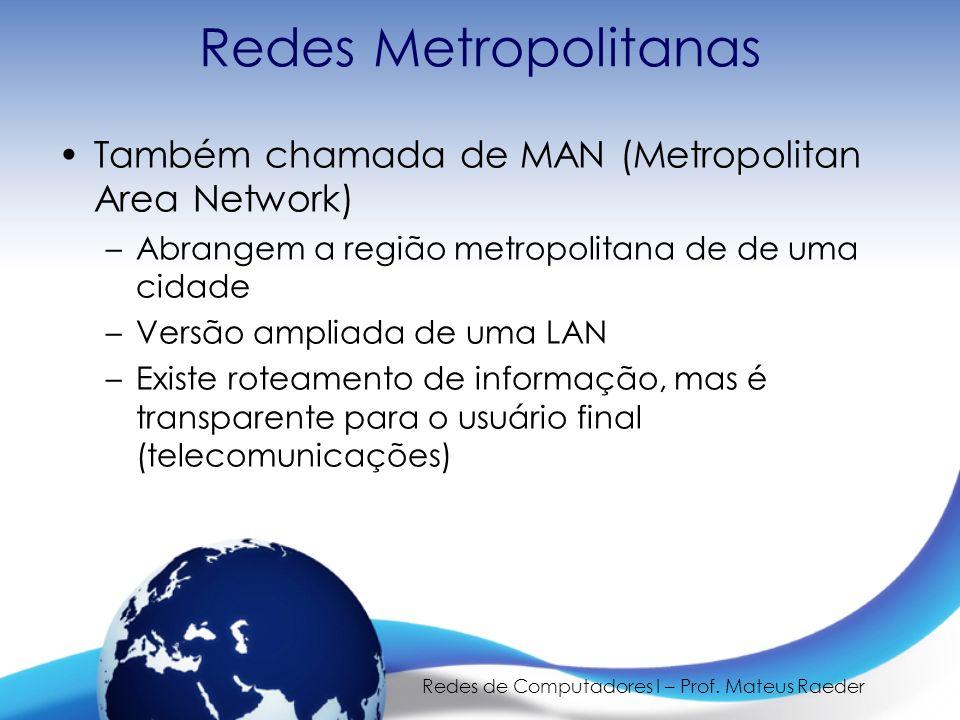 Redes de Computadores I – Prof. Mateus Raeder Redes Metropolitanas Também chamada de MAN (Metropolitan Area Network) –Abrangem a região metropolitana