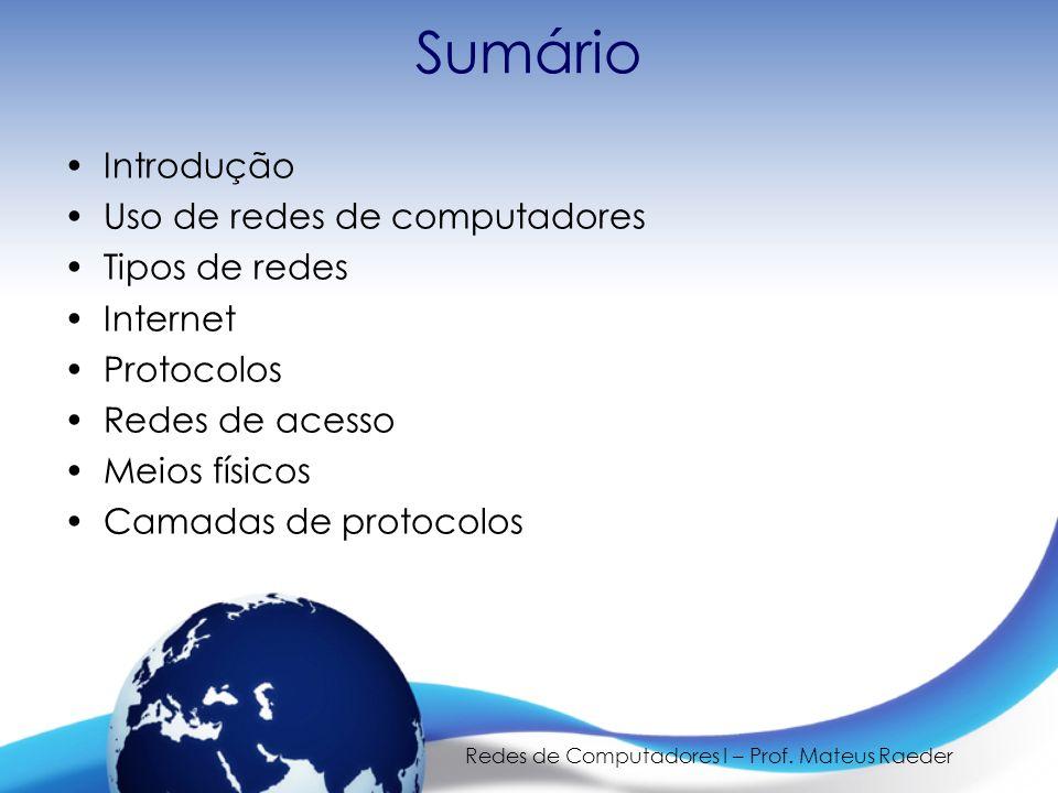 Redes de Computadores I – Prof. Mateus Raeder Sumário Introdução Uso de redes de computadores Tipos de redes Internet Protocolos Redes de acesso Meios