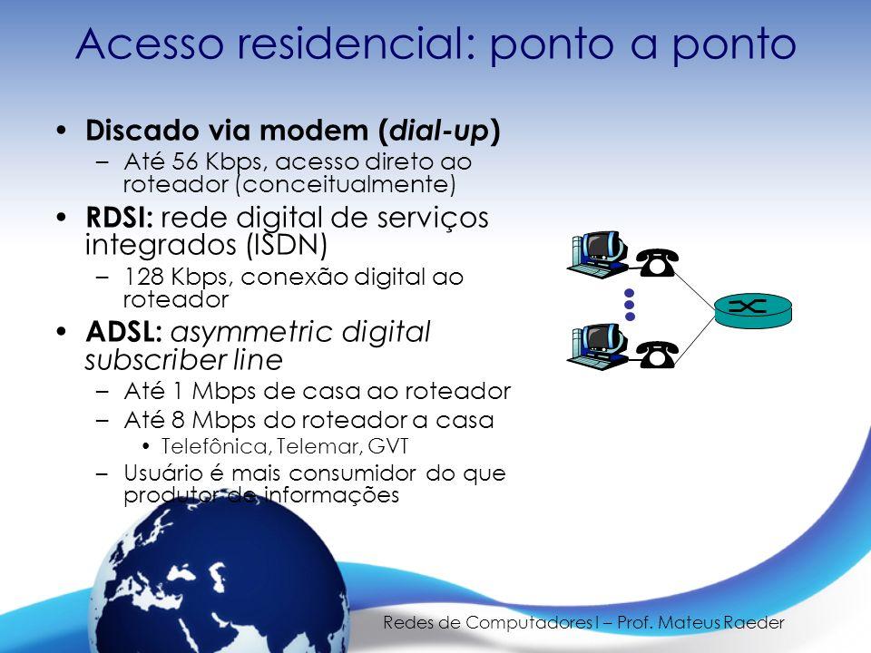 Redes de Computadores I – Prof. Mateus Raeder Acesso residencial: ponto a ponto Discado via modem ( dial-up ) –Até 56 Kbps, acesso direto ao roteador