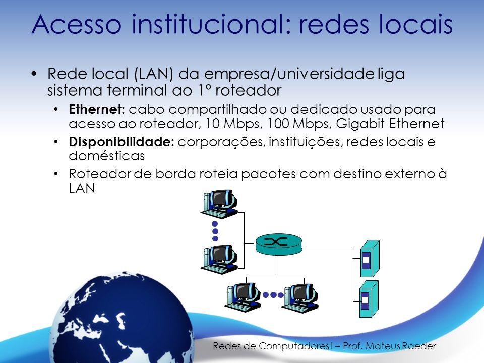 Redes de Computadores I – Prof. Mateus Raeder Acesso institucional: redes locais Rede local (LAN) da empresa/universidade liga sistema terminal ao 1º