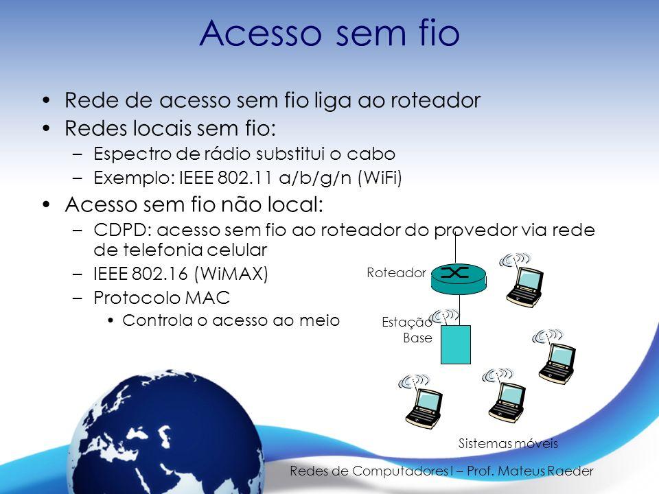 Redes de Computadores I – Prof. Mateus Raeder Acesso sem fio Rede de acesso sem fio liga ao roteador Redes locais sem fio: –Espectro de rádio substitu