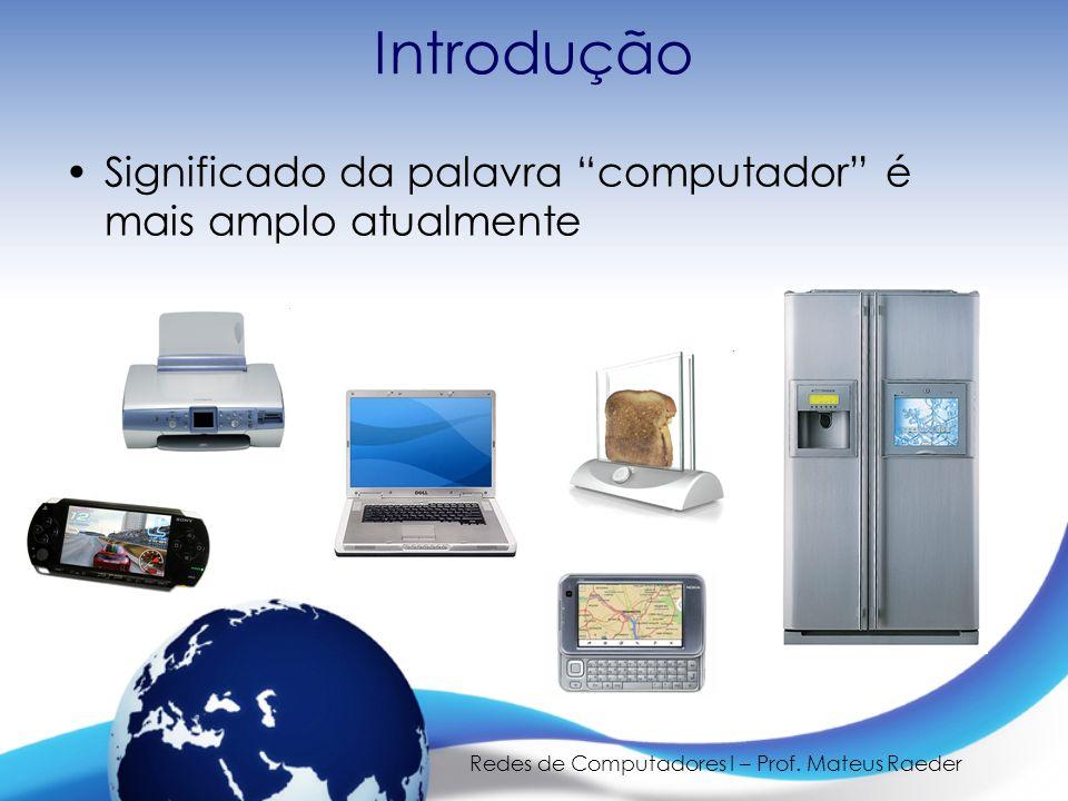 Redes de Computadores I – Prof. Mateus Raeder Introdução Significado da palavra computador é mais amplo atualmente