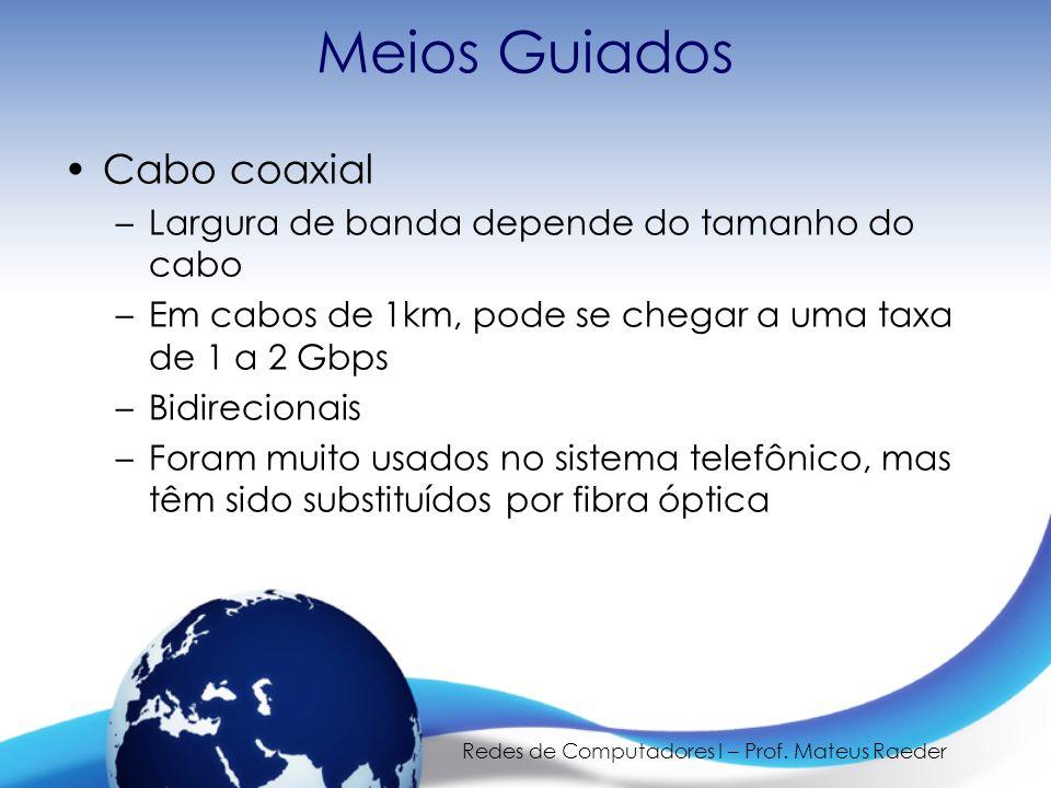 Redes de Computadores I – Prof. Mateus Raeder Meios Guiados Cabo coaxial –Largura de banda depende do tamanho do cabo –Em cabos de 1km, pode se chegar