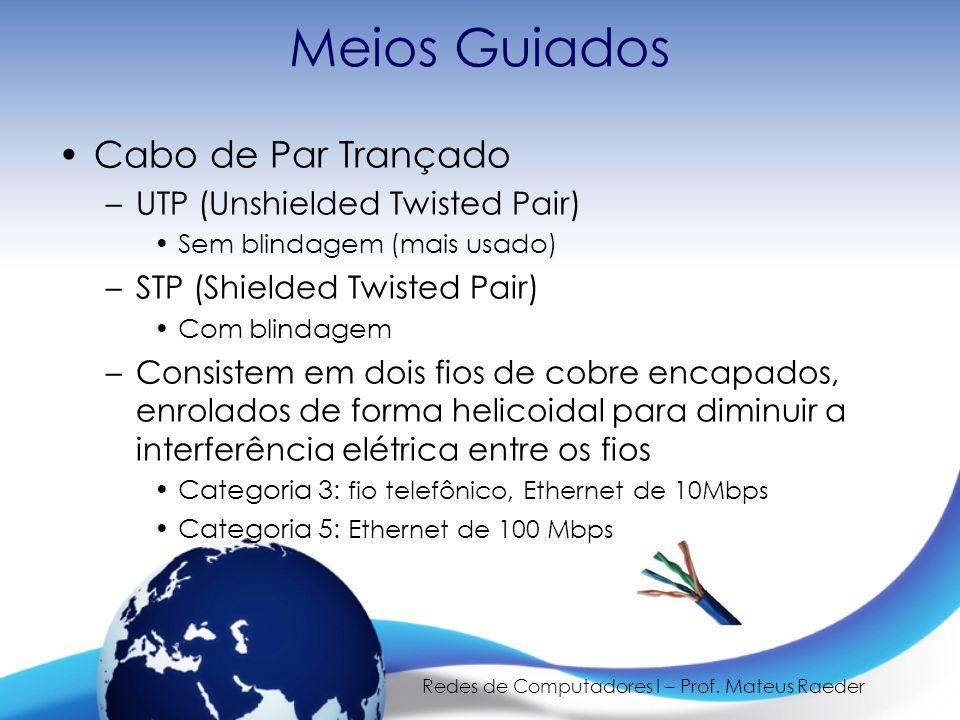 Redes de Computadores I – Prof. Mateus Raeder Meios Guiados Cabo de Par Trançado –UTP (Unshielded Twisted Pair) Sem blindagem (mais usado) –STP (Shiel