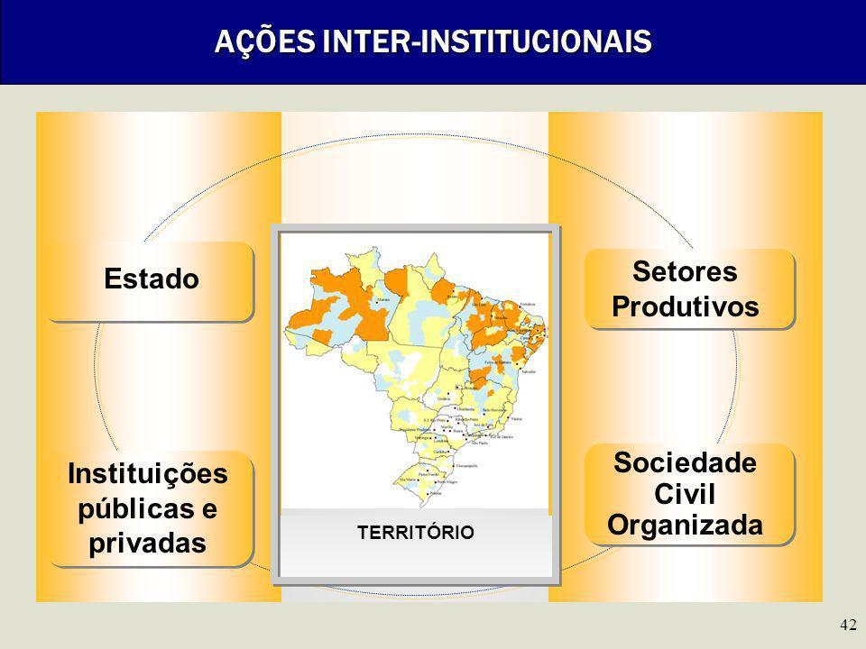 42 AÇÕES INTER-INSTITUCIONAIS Instituições públicas e privadas Estado Sociedade Civil Organizada TERRITÓRIO Setores Produtivos