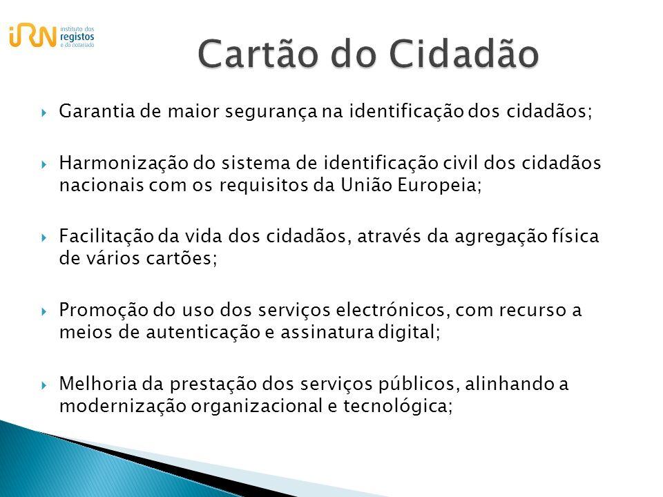 Garantia de maior segurança na identificação dos cidadãos; Harmonização do sistema de identificação civil dos cidadãos nacionais com os requisitos da