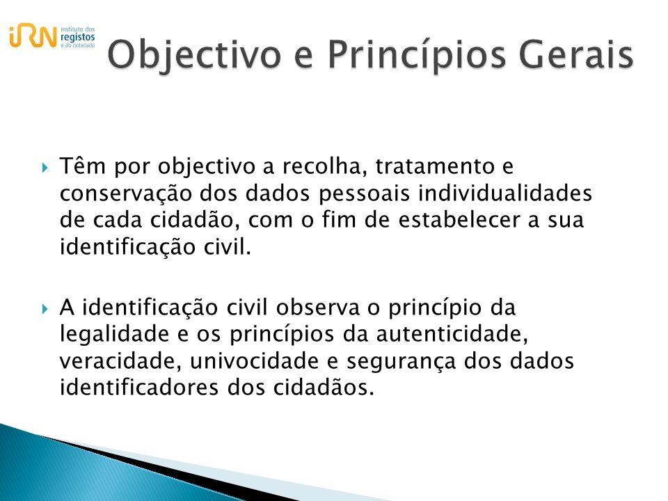 Compete à Direcção-Geral dos Registos e do Notariado, através dos serviços de identificação civil: O tratamento de dados da identificação civil; A emissão do bilhete de identidade de nacionais portugueses;